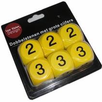 Low Vision Design Dobbelstenen  -spel- geel - 30 mm - grote cijfers