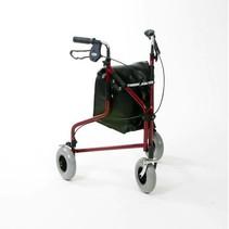 Rollator Delta - 3 wiel met tas - blauw / chroom / rood /  - mandje en dienblad