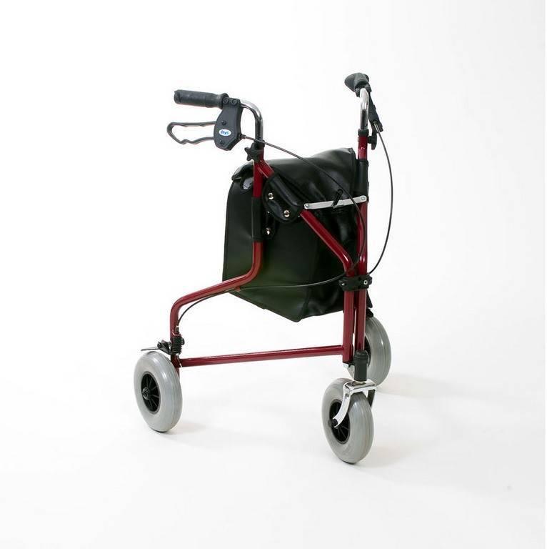 Afbeelding van Rollator Delta 3 wiel met tas blauw / chroom rood mandje en dienblad