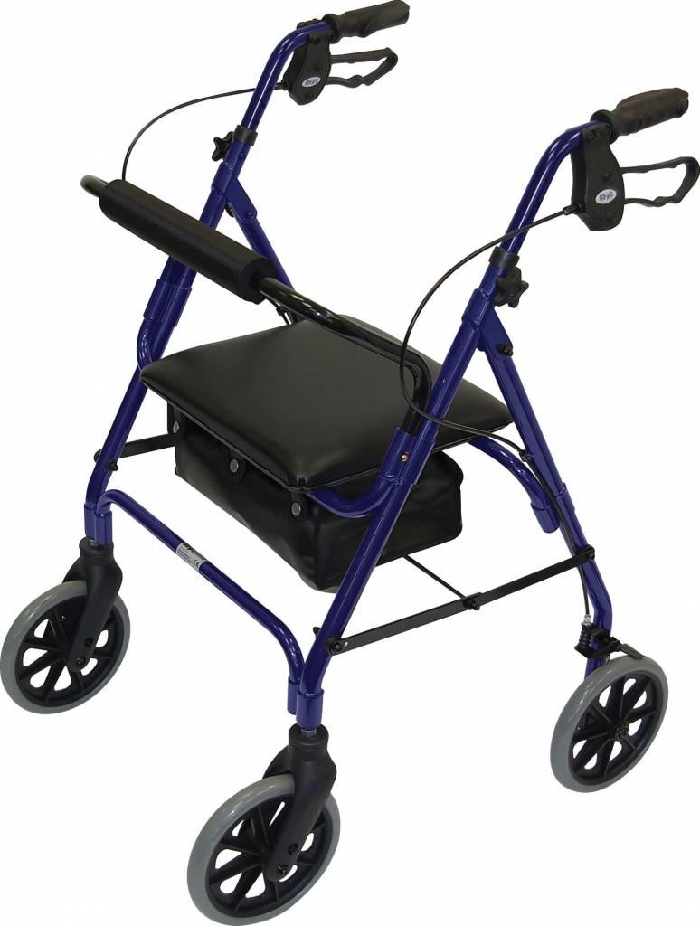 Afbeelding van Lichtgewicht rollator safety walker verstelbaar blauw / bordeaux