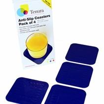 Able 2 Onderzetters Anti-slip  - 4 x 4 cm - blauw / rood / geel