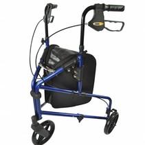 Aluminium 3 -wiel Rollator  - tas - blauw / zilver