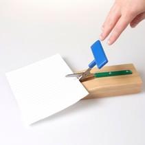 Schaar Easi-Grip zelfopenend tafel schaar - stomp -  houder  hout