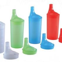 Drinkbekerset met lange tuitdeksels- verschillende kleuren
