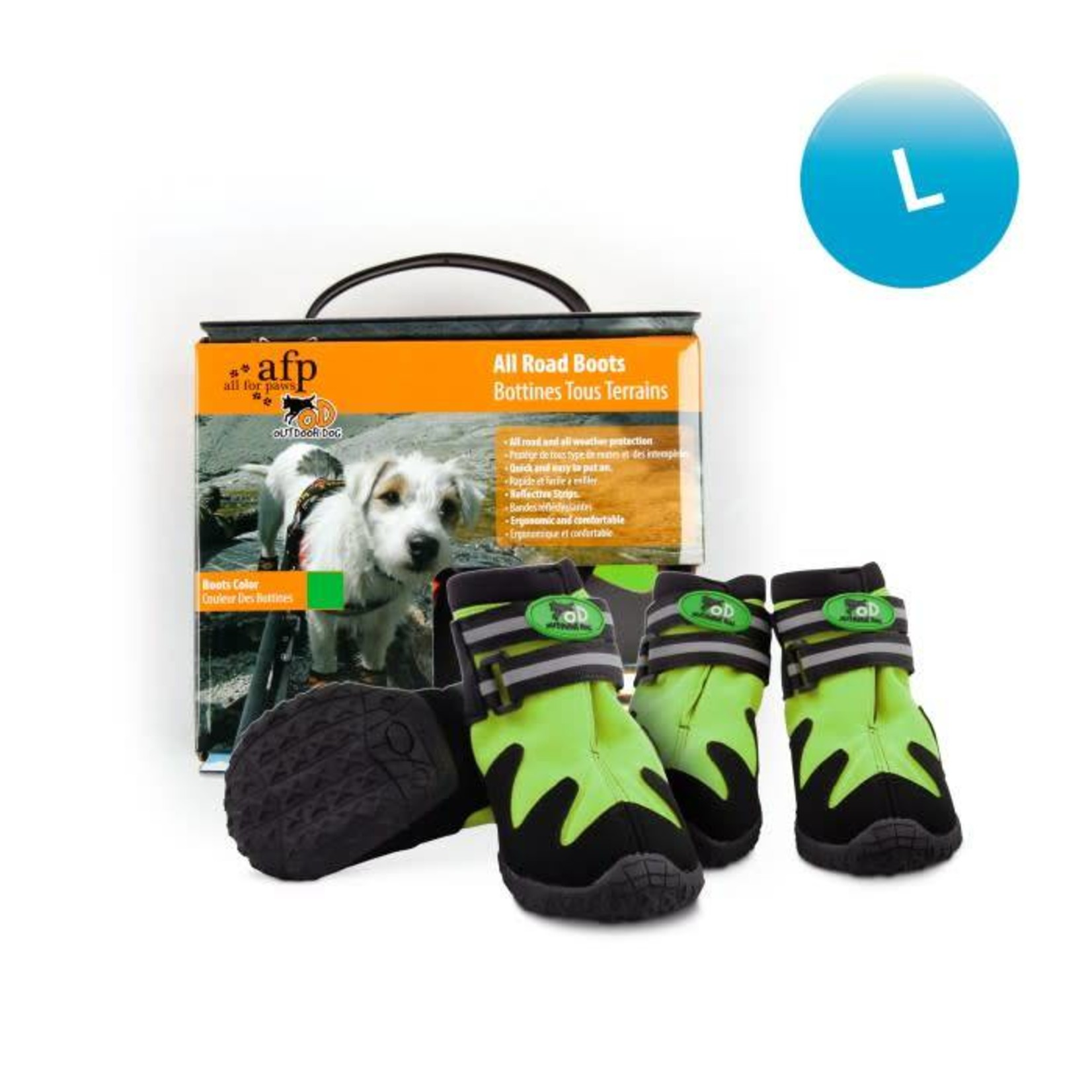 All For Paws Outdoor All Road Dog Boots, Green