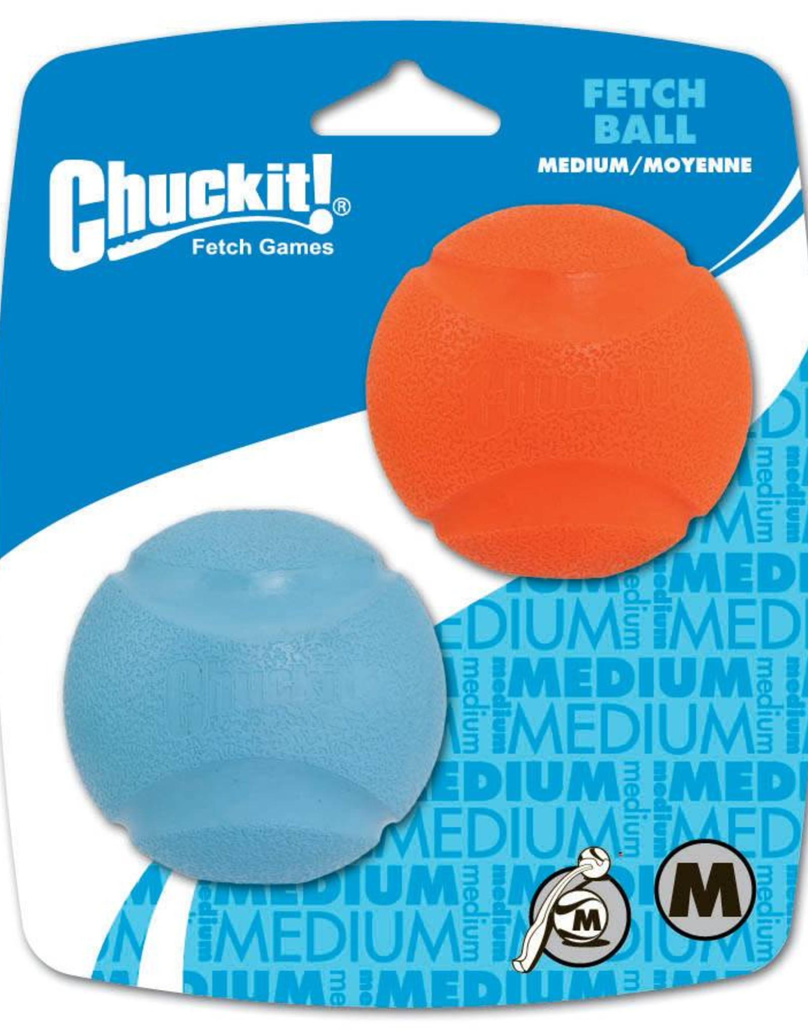 Chuckit Fetch Ball Dog Toy, Medium 6.5cm, 2 pack