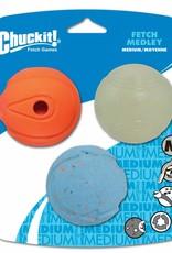 Chuckit Fetch Medley Assorted Balls Dog Toy Medium 6.5cm, 3 pack
