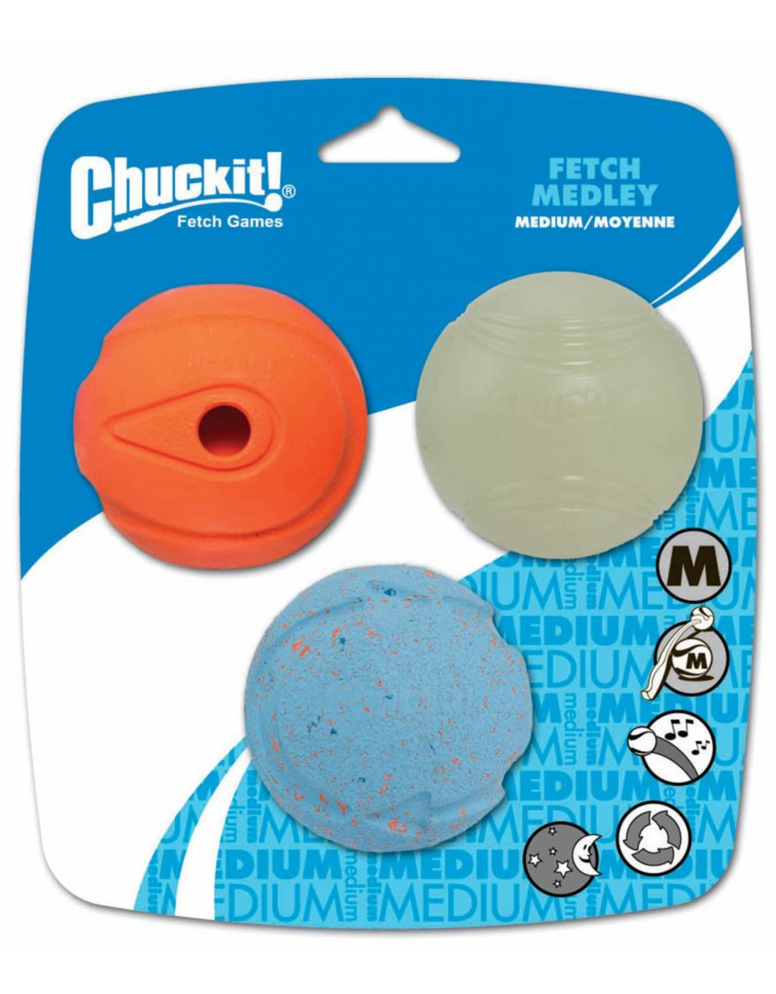 Chuckit Fetch Medley Assorted Balls Dog Toy Medium 6.5cm, 3 pack
