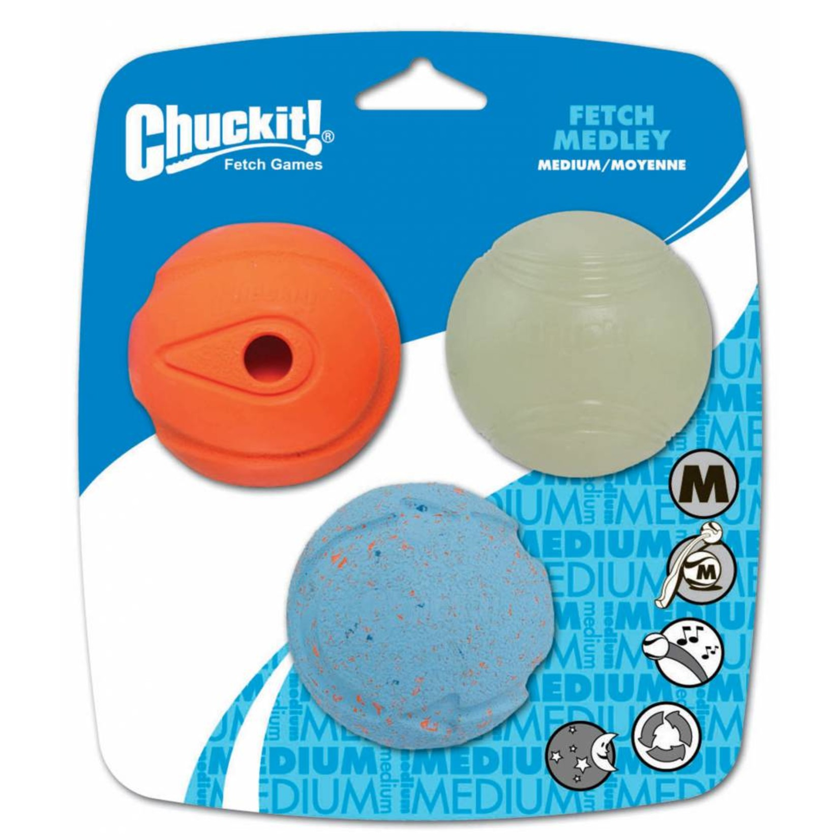 Chuckit! Fetch Medley Assorted Balls Dog Toy Medium 6.5cm, 3 pack