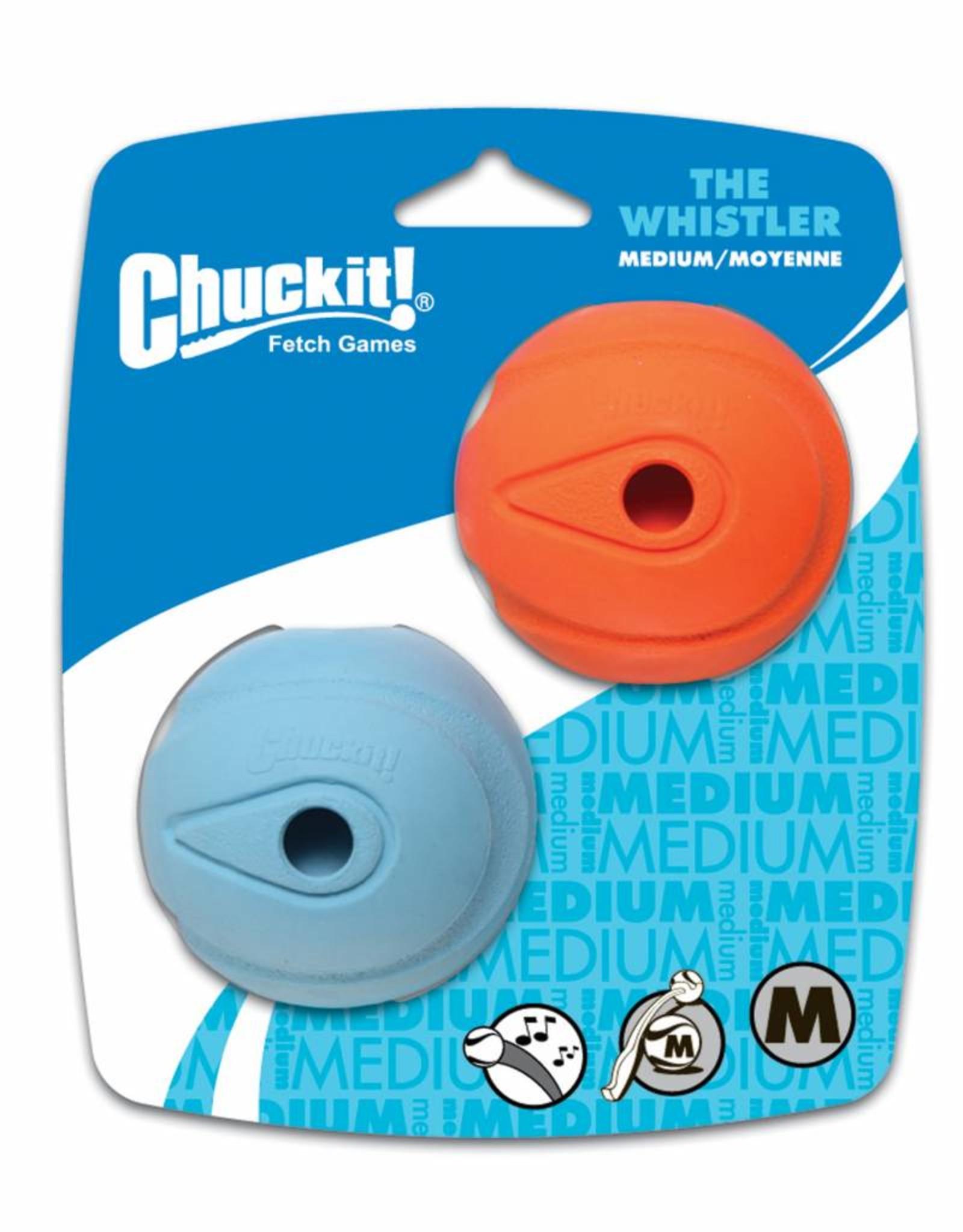 Chuckit The Whistler Ball Dog Toy, Medium 6.5cm, 2 pack
