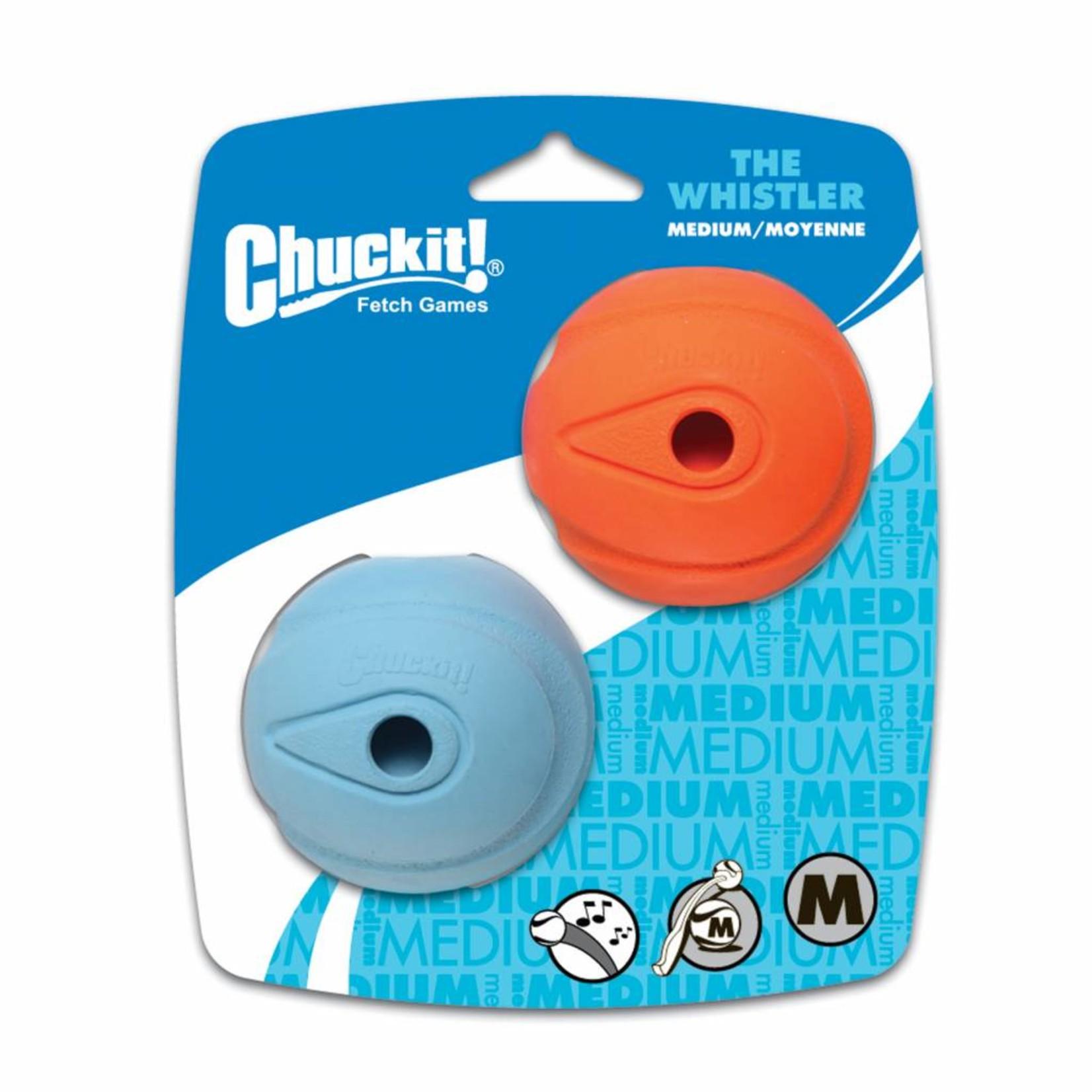 Chuckit! The Whistler Ball Dog Toy, Medium 6.5cm, 2 pack