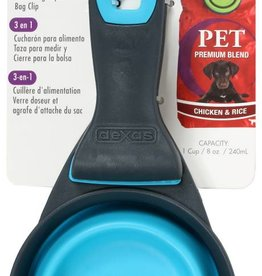 Dexas Popware 3-in-1 Collapsible Food Scoop, Measuring Cup and Bag Clip, Blue
