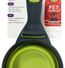 Dexas Popware 3-in-1 Collapsible KlipScoop Food Scoop, Measuring Cup and Bag Clip, Green