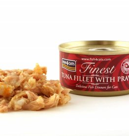 Fish4Cats Finest Wet Tuna Fillet with Prawn Cat Food, 70g