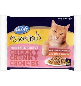 HiLife Essentials Cheeky Chunky Choices Cat Food in Gravy Chicken & Beef/Cod & Salmon pack of 4
