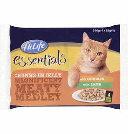 HiLife Essentials Magnificent Meaty Medley in Jelly Cat Food Chicken/Lamb pack of 4