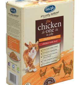 HiLife Its Only Natural Cat Food Pouch The Chicken One In Jelly 70g, 8 pack