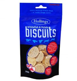 Hollings White Fish & Potato Biscuits Natural Dog Treats, 75g