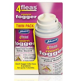 Johnsons Veterinary 4Fleas Dual Action Room Fogger with I.G.R, 100ml Aerosol Treats 35m², 2 pack