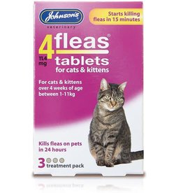 Johnsons 4Fleas Tablets Cats And Kittens, 3 x 11.4 mg Tablets