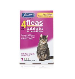 Johnsons Veterinary 4Fleas Tablets for Cats & Kittens, 3 treatment pack