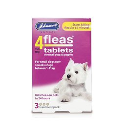 Johnsons Veterinary 4Fleas Tablets for Small Dogs & Puppies Up To 11 kg, 3 treatment pack