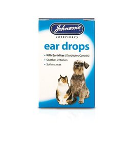 Johnsons Veterinary Ear Drops for Cats & Dogs, Kills ear mites 15ml
