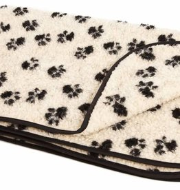 Pets & Leisure Double Thickness Sherpa Fleece Blanket, Paw Print Beige/Black