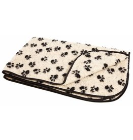 Pets & Leisure Double Thickness Sherpa Fleece Pet Blanket, Paw Print Beige & Black