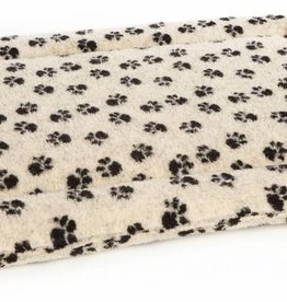 Pets & Leisure Superior Pet Bed Rectangular Fleece Cushion Pad, Paw Print Beige