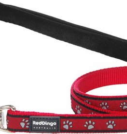 Red Dingo Red Paw Print Dog Lead