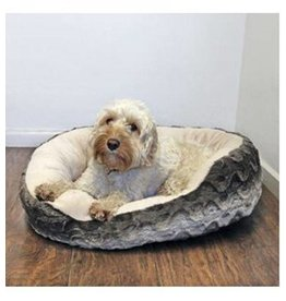Rosewood 40 Winks Grey & Cream Snuggle Plush Oval Dog Bed