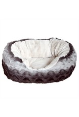 Rosewood 40 Winks Grey & Cream Snuggle Plush Oval Dog Bed