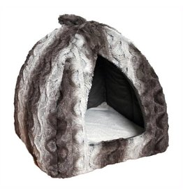 Rosewood 40 Winks Pyramid Grey & Cream Snuggle Plush Bed, 40cm 16inch