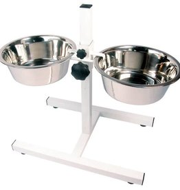 Rosewood Adjustable Wire Double Diners Feeding Stand