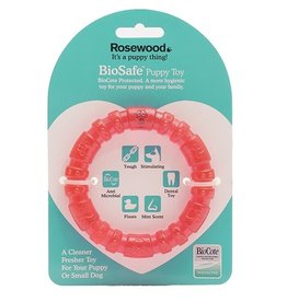 Rosewood BioSafe Germ Smart Pink Puppy Ring Toy