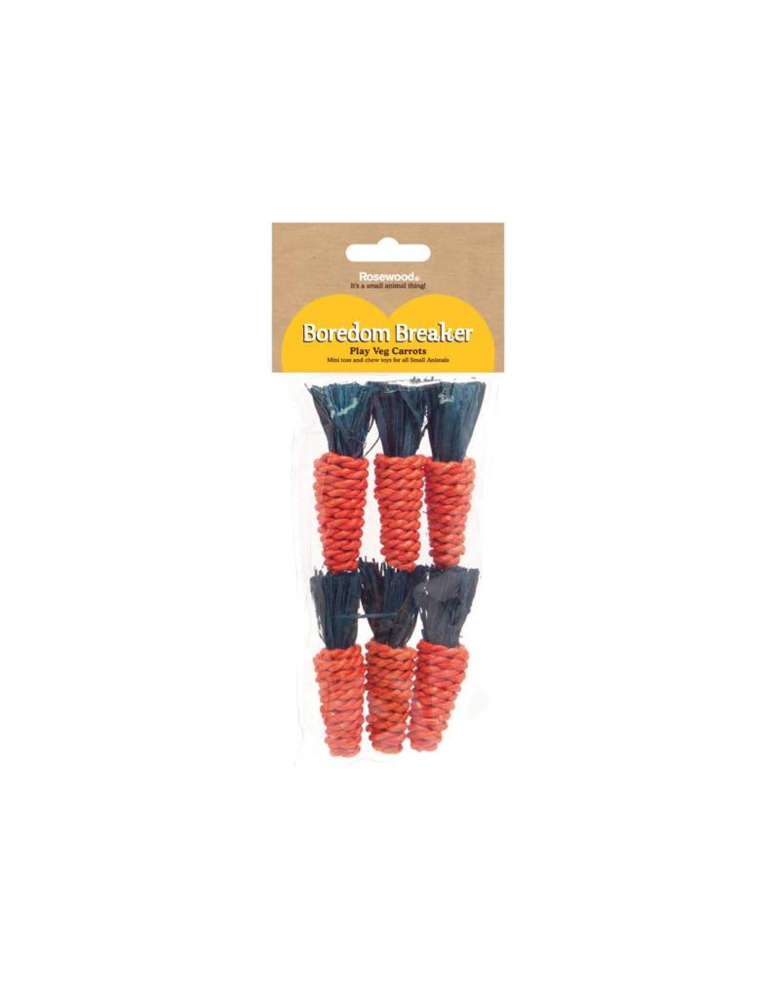 Rosewood Boredom Breaker Corn Wood & Sisal Small Animal Mini Play Veg Carrots, 6 pack