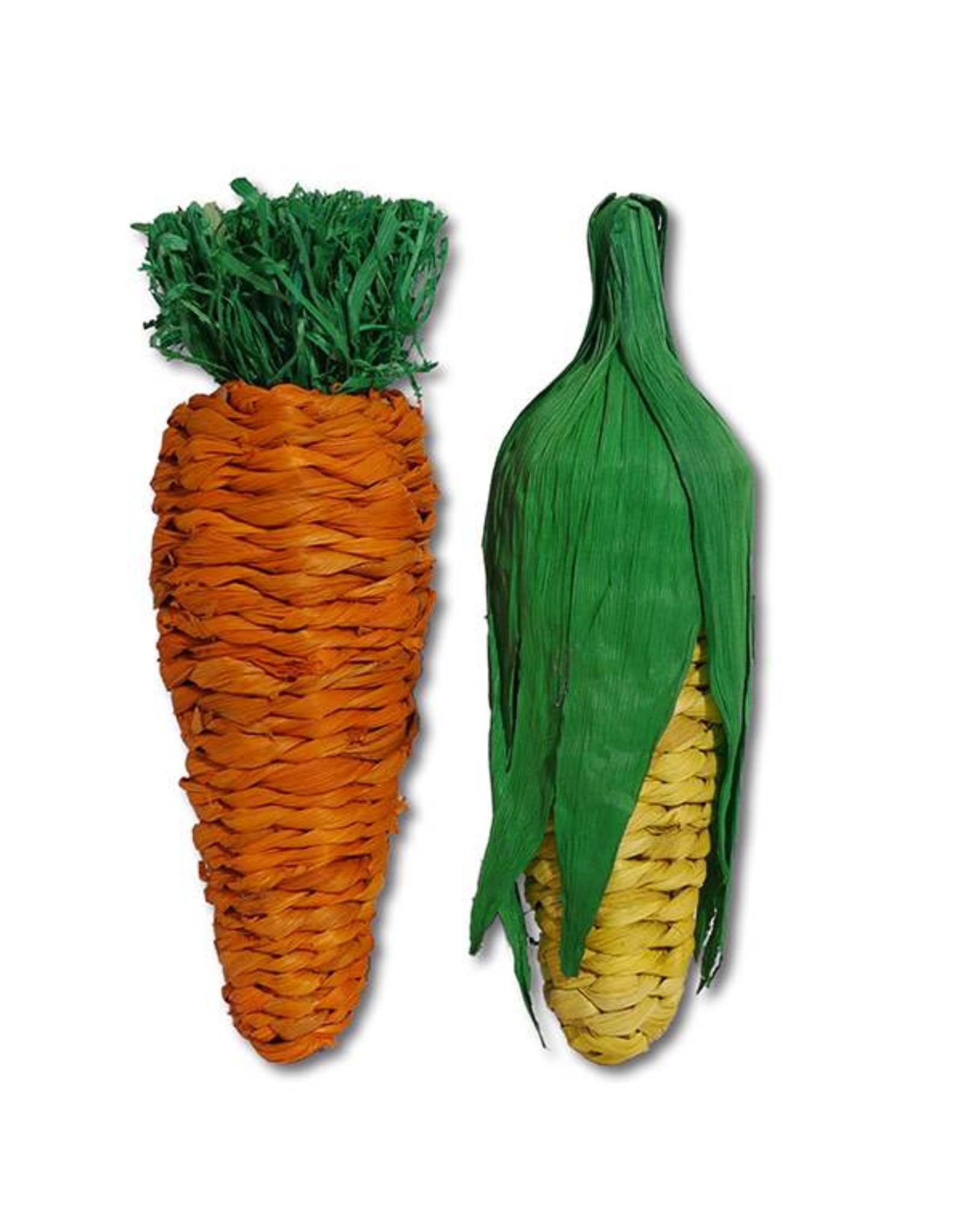 Rosewood Boredom Breaker Jumbo Small Animal Play Veg Carrot & Corn Chew Toy