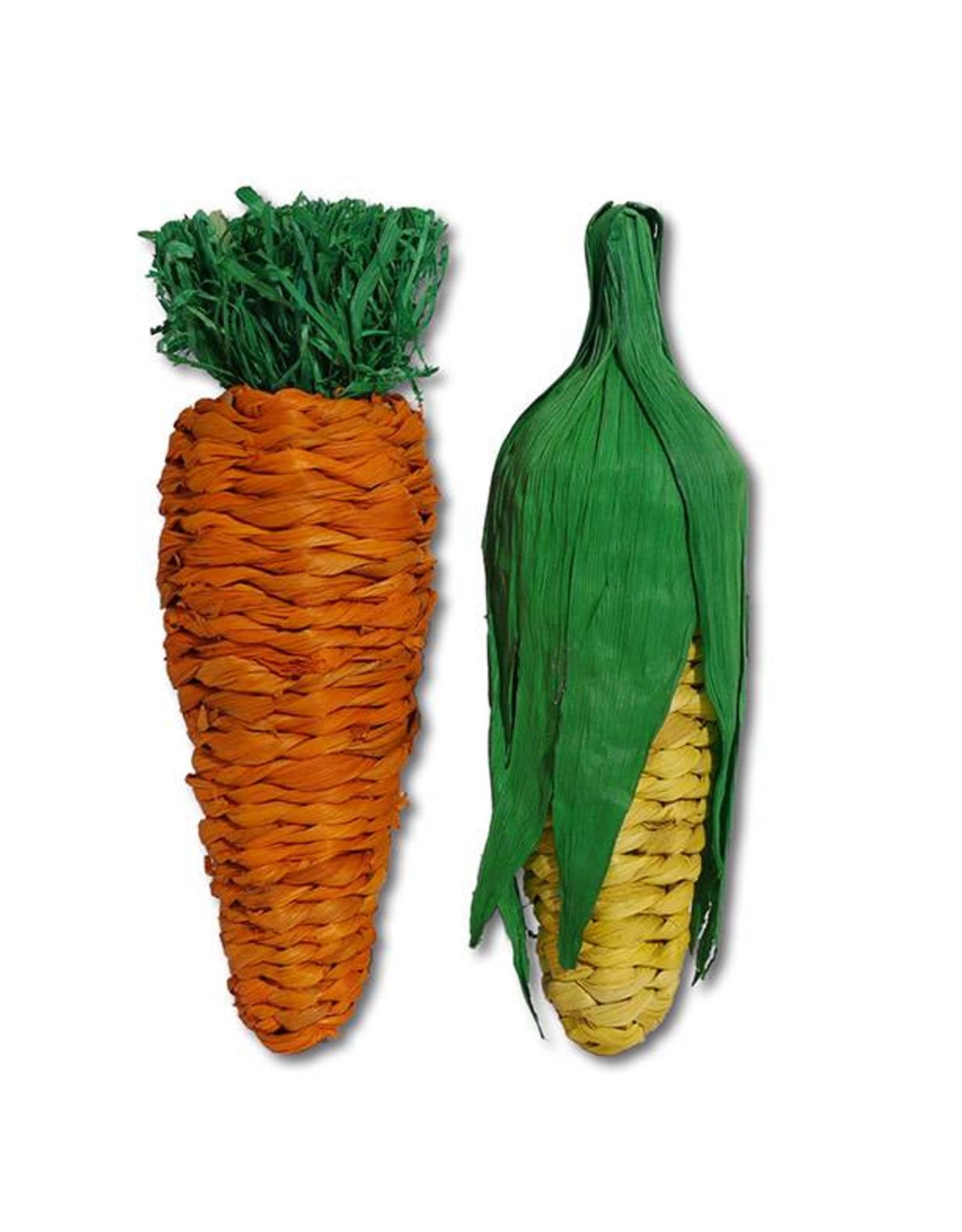 Rosewood Boredom Breaker Play Veg Jumbo Carrot & Corn Small Animal Chew Toy