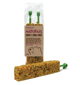 Rosewood Boredom Breaker Naturals Carrot & Fennel Sticks Small Animal Treat, 120g