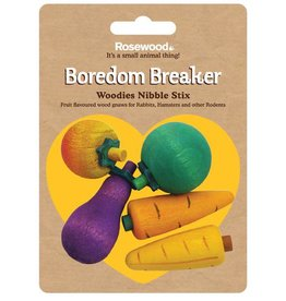 Rosewood Boredom Breaker Woodies Nibble Stix Small Animal Toy, 5 pack