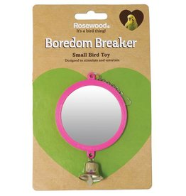 Rosewood Budgie Toy Round Mirror with Bell, 3inch