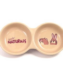 Rosewood Small Animal Ceramic Twin Bowl 20cm 8inch Naturals Twin Dish