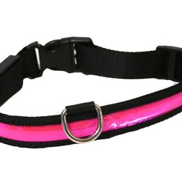 Rosewood Flashing Reflective Dog Collar Pink Large 45-61cm