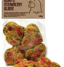 Rosewood Hennys Strawberry Hearts Poultry Treats for Chickens 120g