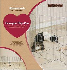 Rosewood Hexagon Play Pen, 6 panels of 25 x 25cm