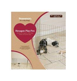 Rosewood Hexagon Puppy Play Pen, 6 panels of 25 x 25cm