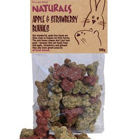 Rosewood Naturals Small Animal Treats Apple & Strawberry Bunnies 100g