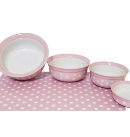 Rosewood Pink Polka Dot 5 inch Shallow Pet Dish