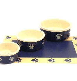 Rosewood Stoneware Blue Beige Paw Pet Dish